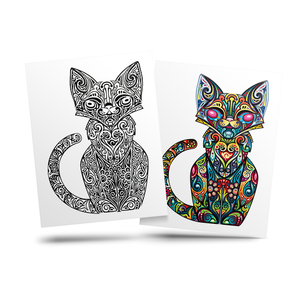 Cat - free adult coloring page