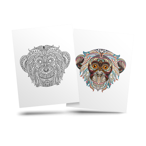 Monkey - free adult coloring page