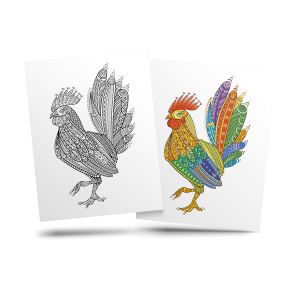 Rooster - free adult coloring page