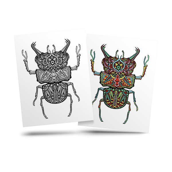 Beetle - free adult coloring page