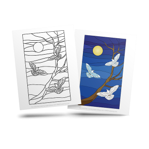 free stained glass adult coloring page