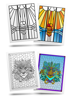 Free Stained Glass Adult Coloring Pages