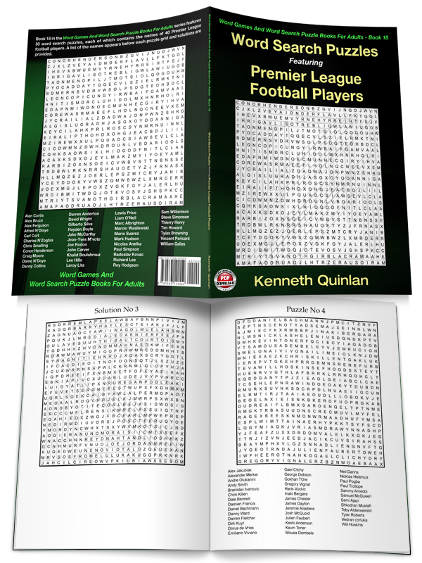 Word Search Puzzles Featuring Premier League Football Players Wmc Publishing
